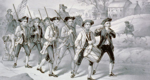 Citizens marching off to defend liberty.