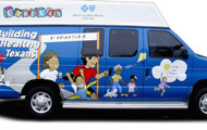 Mobile Vaccine Van Injecting Kids For Free all around Texas.